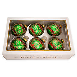 3.15-Inch Christmas Ball Ornaments in Green (Set of 6)