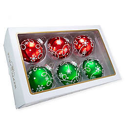 3.15-Inch Swirl Christmas Ball Ornaments in Red/Green (Set of 6)