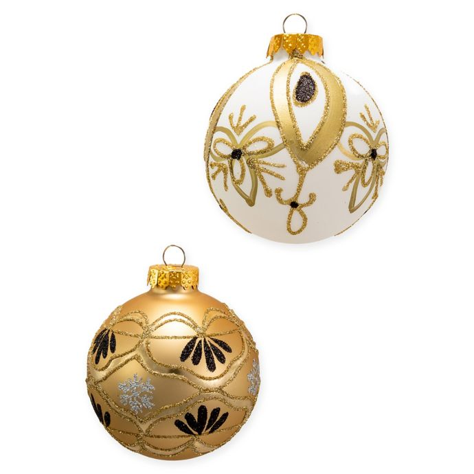 Kurt Adler Ball Christmas Ornaments In Gold White Set Of 6 Bed Bath Beyond