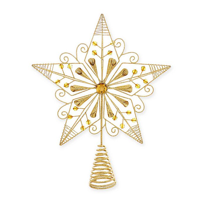 12 25 Inch Wire Christmas Star Tree Topper In Gold Bed Bath Beyond