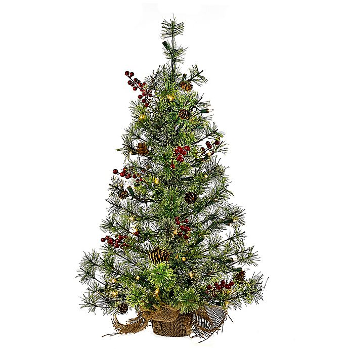 Table Top Lighted Christmas Tree: 24-Inch Pre-Lit Pinecones And Berries Artificial Tabletop