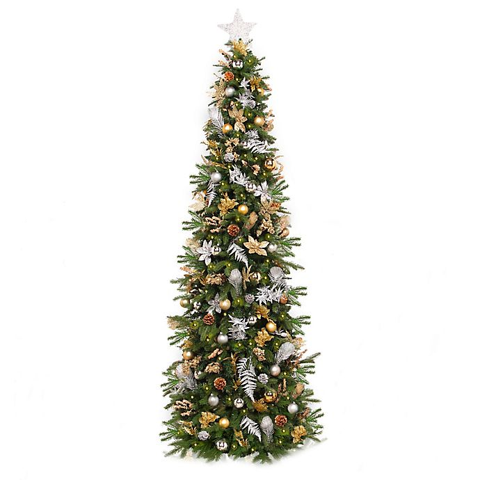 Easy Treezy Pre-Lit Decorated Artificial Christmas Tree ...