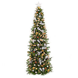 Easy Treezy Pre-Lit Decorated Artificial Christmas Tree with Metallic Decor