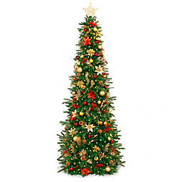 Easy Treezy Pre-Lit Decorated Artificial Christmas Tree with Historic Decor
