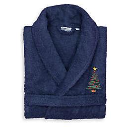 Linum Home Textiles Christmas Tree Large/XL Bathrobe in Navy