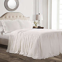 Lush Decor Ruffle 3-Piece King Bedspread Set in White