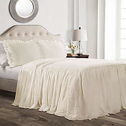 Lush Decor Ruffle 3-Piece Queen Bedspread Set in Ivory