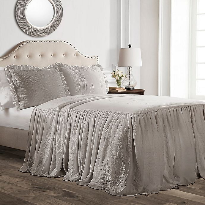 Alternate image 1 for Lush Decor Ruffle Twin Bedspread Set in Grey