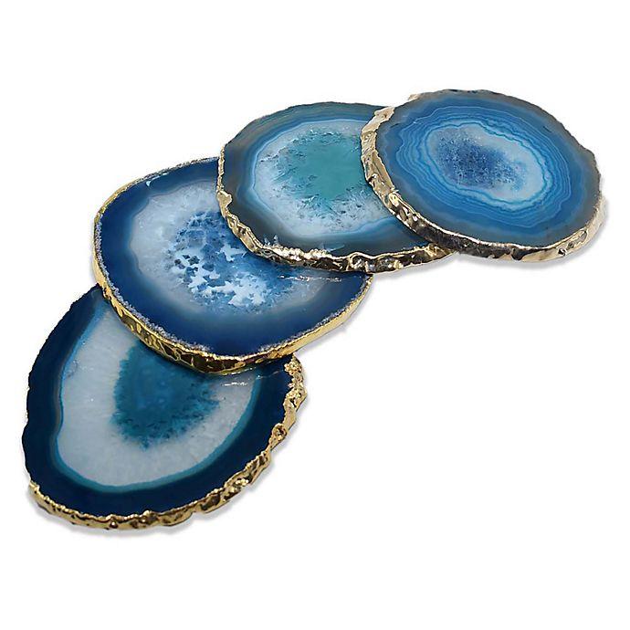 Alternate image 1 for Medium Gold Edge Agate Coasters (Set of 4)