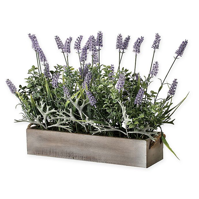 Alternate image 1 for Bee & Willow™ Home Artificial Lavender Plant in Wooden Ledge Box