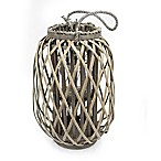Large Willow-Wrapped Glass Lantern with Handle