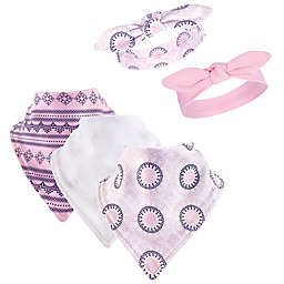 Yoga Sprout 5-Piece Ornamental Bib & Headband Set in Pink