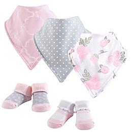 Hudson Baby® 5-Piece Rose Bib & Sock Set in Pink