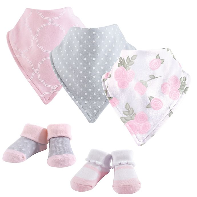 Alternate image 1 for Hudson Baby® 5-Piece Rose Bib & Sock Set in Pink