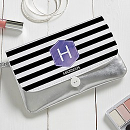 Personalized Modern Stripe Wristlet