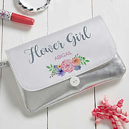 Personalized Floral Wreath Bridal Party Wristlet