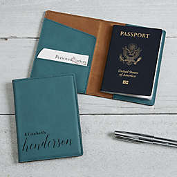 Stylish Name Passport Holder in Teal