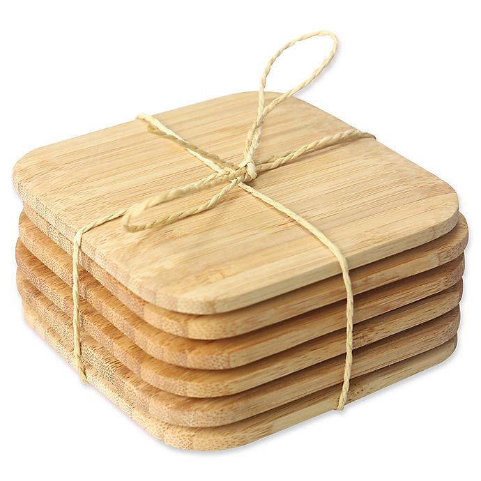 Alternate image 1 for Home Basics Bamboo Coasters (Set of 6)