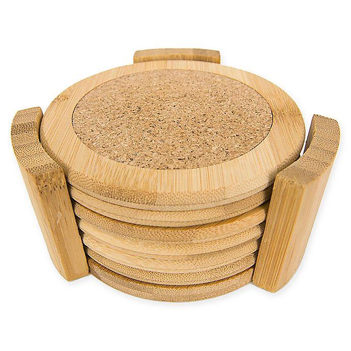 Alternate image 1 for Home Basics Coasters with Wood Holder (Set of 6)