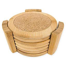 Home Basics 7-Piece Bamboo Coaster Set