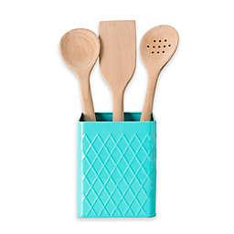 Home Basics Tin Utensil Holder in Turquoise