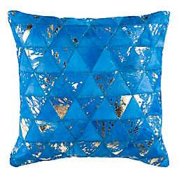 Safavieh Clairton Metallic Cowhide Square Throw Pillow in Blue/Silver
