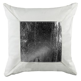 Safavieh Tinsely Cowhide Square Throw Pillow in White/Silver
