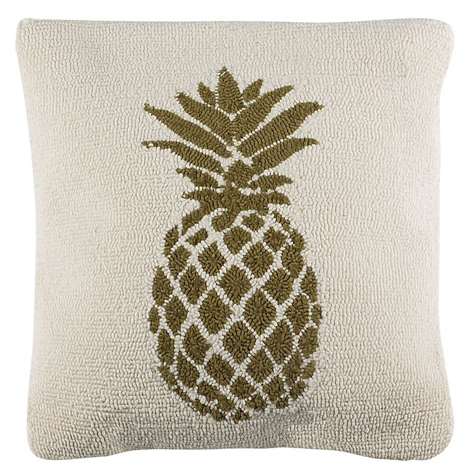 Alternate image 1 for Safavieh Pure Pineapple Square Indoor/Outdoor Throw Pillow in Gold/White