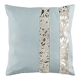 Safavieh Kinston Metallic Cowhide Square Throw Pillow in Grey/Silver