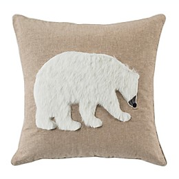 Safavieh Cubsy Polar Bear Square Throw Pillow in Beige/White