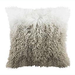 Safavieh Suri Sheep Skin Square Throw Pillow in White/Grey