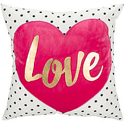 Safavieh Pure Love Square Throw Pillow in White/Pink