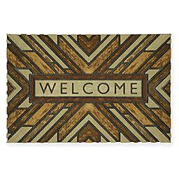 """Mohawk Home® Wood Slabs Welcome 23"""" x 35"""" Door Mat in Brown"""