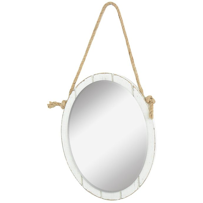 Alternate image 1 for 11.5-Inch x 22-Inch Oval Hanging Wall Mirror in White