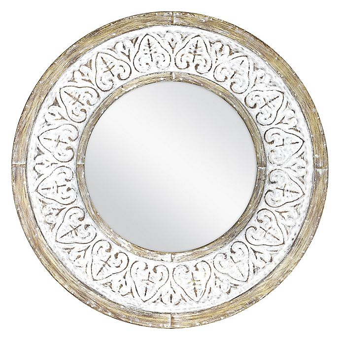 Alternate image 1 for Bee & Willow™ Home Distressed 26-Inch Round Wall Mirror in Rustic White
