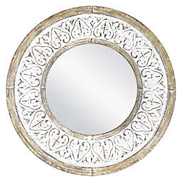 Bee Willow Home Distressed 26 Inch Round Wall Mirror In Rustic White