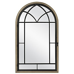 Bee & Willow™ Home Arched 24-Inch x 40-Inch Window Pane Mirror in Rustic Brown