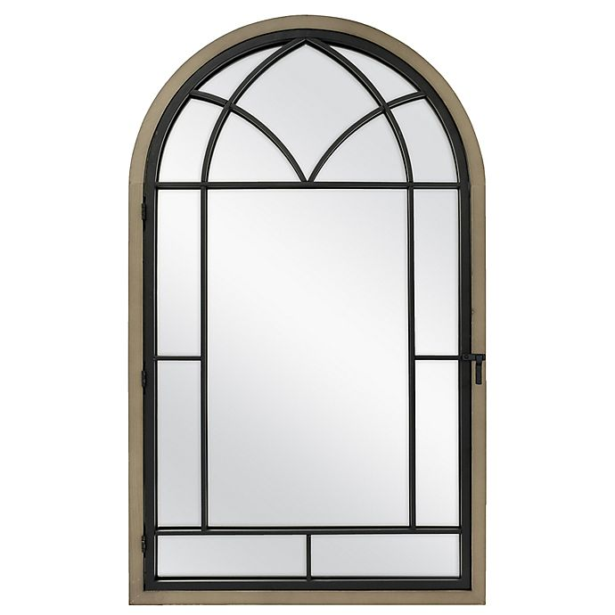 Alternate image 1 for Bee & Willow™ Home Arched 24-Inch x 40-Inch Window Pane Mirror in Rustic Brown