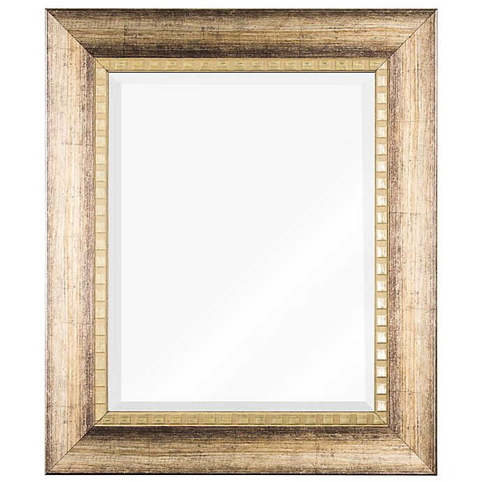 Alternate image 1 for 23-Inch x 27-Inch Beveled Rectangular Vanity Wall Mirror in Wood Grain
