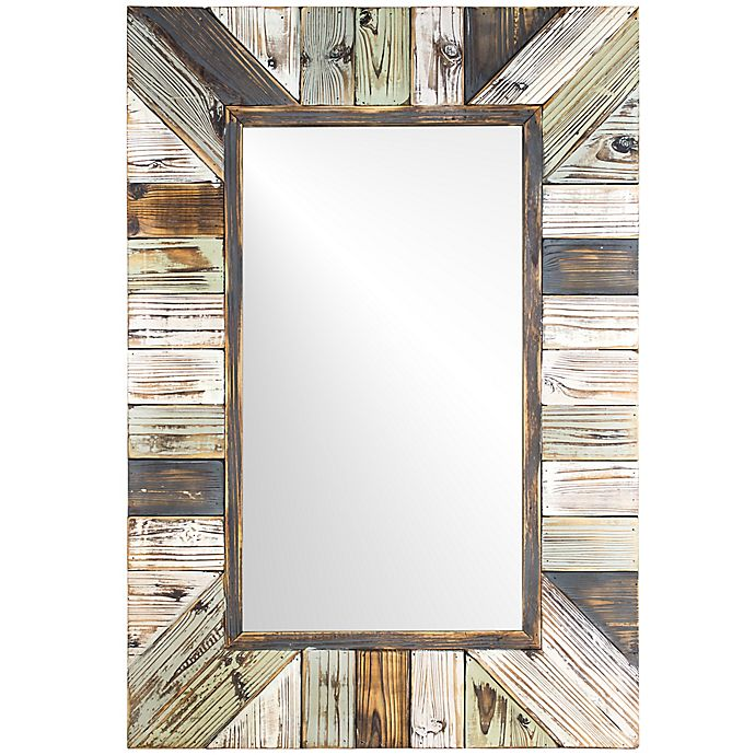 Striped Rustic Wood Framed Wall Mirror, Decorative Wall Mirrors Bed Bath And Beyond