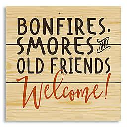 Designs Direct Bonfire Smores Friends 10.5-Inch x 10.5-Inch Pallet Wood Wall Art