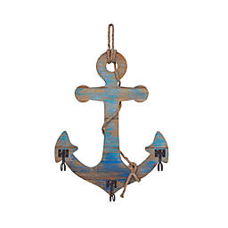 Danya B™ 14.75-Inch x 23.25-Inch 3-Hook Wooden Wall Anchor in Blue