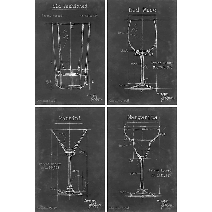 Alternate image 1 for Marmont Hill 4-Piece Drinking Glasses 48-Inch x 72-Inch Canvas Wall Art Set