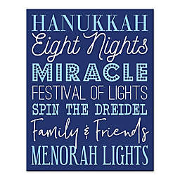 Designs Direct Hanukkah Words 11-Inch x 14-Inch Canvas Wall Art