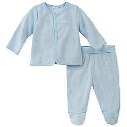 Absorba® 2-Piece Star Burnout Cardigan and Footed Pant Set in Blue