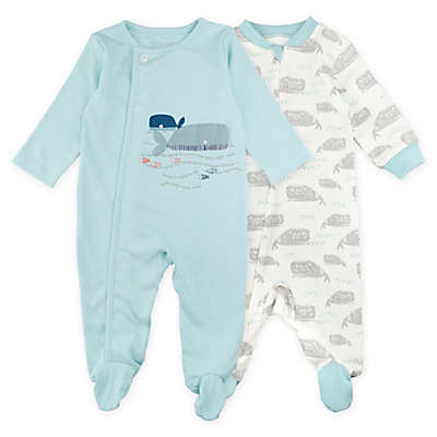 Mac & Moon 2-Pack Whale Sleep & Play in Light Blue/White