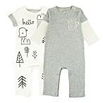 Mac & Moon Newborn 2-Pack Rompers in Grey/White
