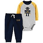 carter's® Size 3M 2-Piece Love Mom Robot Bodysuit and Pant Set in Navy/Grey