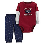 carter's® Size 6M 2-Piece Little Brother Football Bodysuit and Pant Set in Red/Navy