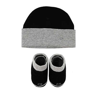 Calvin Klein Newborn 2-Piece Bootie & Hat Set in Black